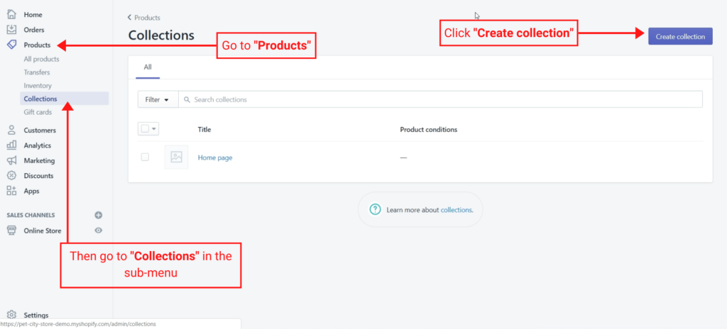 Shopify, create a product collection